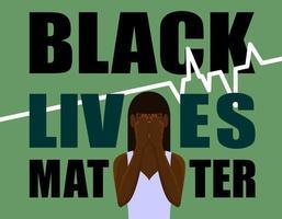 striscione verde con una ragazza che piange e testo di materia di vita nera vettore