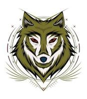disegno del logo faccia di lupo. mascotte del lupo. immagine simmetrica frontale del lupo dall'aspetto freddo. illustrazione di lupi testa vettore