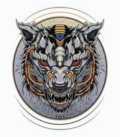 illustrazione di lupi mecha desisgn perfetto per t-shirt, abbigliamento, merce, design di spille. logo mascotte robotica lupo vettore