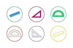 set di icone colorate righello vettore