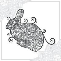 mandala di coniglio. elementi decorativi vintage. modello orientale, illustrazione vettoriale. vettore