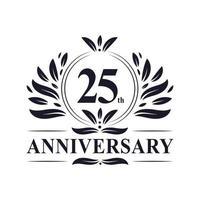 Celebrazione del 25 ° anniversario, lussuoso design del logo dell'anniversario di 25 anni. vettore