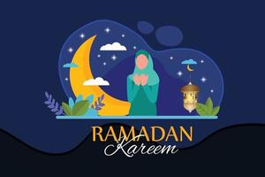 illustrazione piatta ramadan kareem vettore