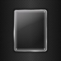 Cornice di vetro su sfondo di metallo vettore