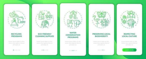 Green Hotel presenta la schermata della pagina dell'app mobile di onboarding con concetti vettore