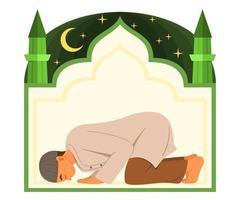 l'uomo musulmano prega a dio e la cornice della moschea è sullo sfondo. vettore