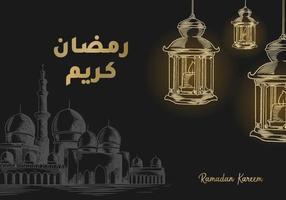 biglietto di auguri di ramadan kareem con moschea e lanterna vettore