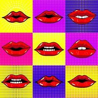 illustrazioni vettoriali disegnati a mano. bocca con i denti. labbra femminili impostate su sfondo luminoso. stile pop art.