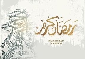 biglietto di auguri di ramadan kareem con mano in preghiera vettore