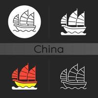 icona del tema scuro della nave spazzatura vettore