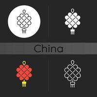 icona tema scuro annodatura cinese vettore
