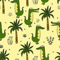 seamless con un simpatico coccodrillo verde con palme ed erbe. illustrazione vettoriale per la stampa su tessuto, carta da imballaggio, carta da parati. sfondo carino per bambini.