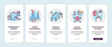 schermata della pagina dell'app mobile dell'applicazione di ingegneria riabilitativa con concetti vettore