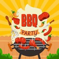 sfondo festa barbecue cortile vettore