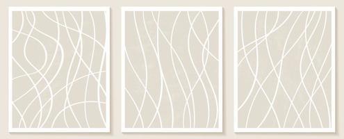modelli estetici contemporanei con forme astratte organiche e linee in colori nudi. sfondo pastello boho in illustrazione vettoriale stile minimalista metà secolo