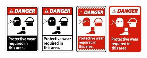 Segnale di pericolo è necessario indossare indumenti protettivi in quest'area con occhiali di protezione, elmetto e simboli di stivali su sfondo bianco vettore