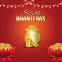 dhanteras vendita biglietto di auguri e banner con fiore di loto e moneta d'oro con kalash vettore