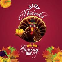 illustrazione vettoriale del giorno del ringraziamento con uccello di tacchino e foglia d'autunno