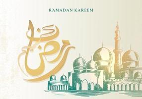 biglietto di auguri di ramadan kareem con moschea vettore