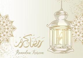 biglietto di auguri di ramadan kareem con lanterna vettore