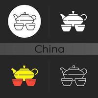 set da tè cinese icona tema scuro vettore