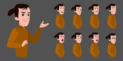 personaggio dei cartoni animati uomo d'affari con varie emozioni facciali. vettore