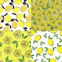 set di modelli senza cuciture di agrumi. Reticolo senza giunte colorato disegnato a mano di limoni disegnati a mano e foglie verdi. perfetto per manifesti di carta da parati di produzione tessile. vettore