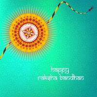 Biglietto di auguri con decorativo Rakhi per Raksha Bandhan, indiano f vettore
