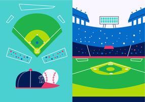 Illustrazione piana di vettore di vista del parco di baseball