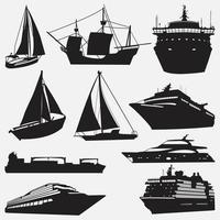 modelli di progettazione di vettore di sagome di nave