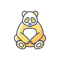 icona di colore grande panda rgb vettore