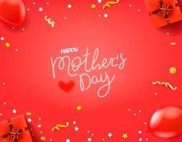 bandiera rossa di vettore di giorno di madri felice con iscrizione calligrafica