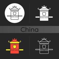 icona del tema scuro della portantina cinese vettore