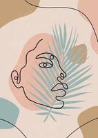 ritratto femminile minimalista astratto. illustrazione di moda vettoriale in uno stile lineare alla moda. arte elegante. per poster, tatuaggi, loghi di negozi di biancheria intima