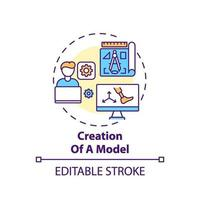 icona del concetto di creazione del modello vettore