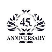 Celebrazione del 45 ° anniversario, design lussuoso del logo dell'anniversario di 45 anni. vettore