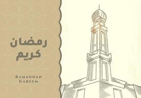 biglietto di auguri di ramadan kareem con torre della moschea vettore