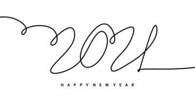 2021 felice anno nuovo disegno della firma del disegno a mano unico contorno continuo. celebrazione del nuovo anno concetto isolato su sfondo bianco. vettore