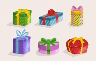 collezione di elementi di scatola regalo vettore