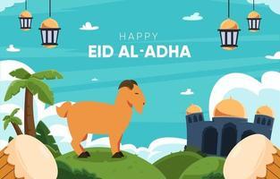 felice sfondo di eid al-adha vettore