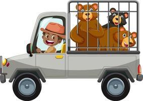 concetto di zoo con il gruppo di orso nell'auto della gabbia isolato su sfondo bianco vettore
