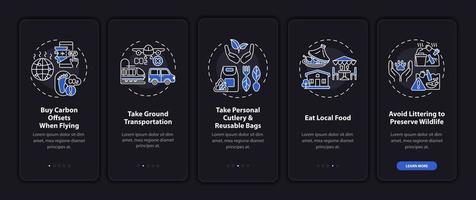 suggerimenti per tour sostenibili sulla schermata della pagina dell'app mobile con concetti vettore