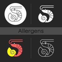icona del tema scuro di crostacei e molluschi vettore