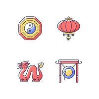 attributi del nuovo anno lunare set di icone di colore rgb vettore