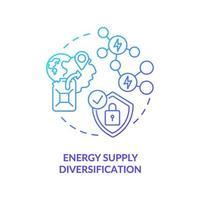 icona del concetto di diversificazione dell'approvvigionamento energetico vettore