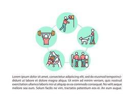 che svolgono attività quotidiane e icone di linea di concetto di sport con testo vettore