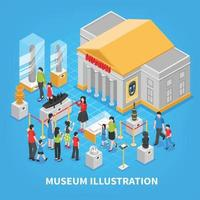 illustrazione vettoriale di composizione isometrica del museo