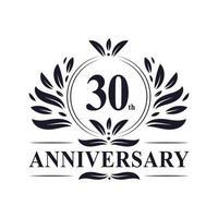 Celebrazione del 30 ° anniversario, design lussuoso del logo dell'anniversario di 30 anni. vettore