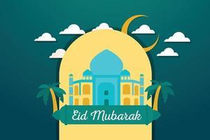 illustrazione realistica di eid mubarak vettore