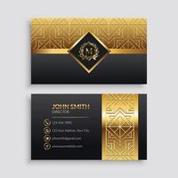 modello di biglietto da visita di lusso oro e nero vettore